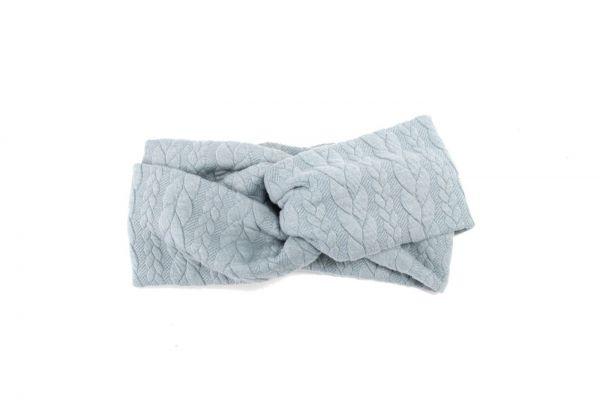Stirnband Strick hellblau