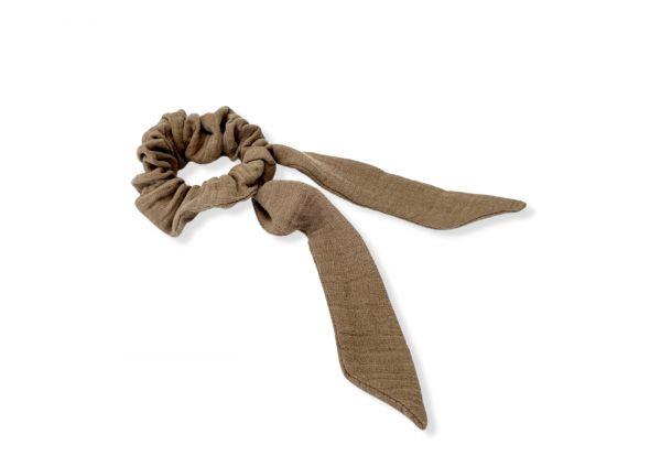 Scrunchie // Haarband mit Schleifenband // Musselin Taupe