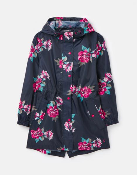 Kurzer Regenmantel // Dunkelblau mit Blumenmuster